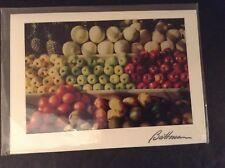 Picture Colorful Fruit Market Photo Card, Battman Studios, NYC, Signed