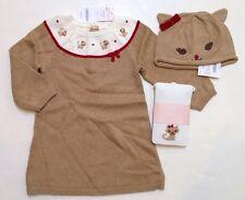 NWT Gymboree Glamour Kitty 18-24 Months Tan Kitten Sweater Dress Hat & Tights