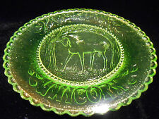 Green Vaseline Unicorn horse glass plate uranium saucer childrens tea set / tray