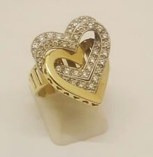BEAUTIFUL LADIES 14CT SOLID GOLD CUBIC ZIRCONIA SET TRIPLE HEART CLUSTER RING