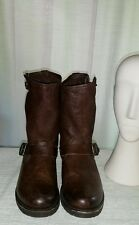 Frye Leather Motorcycle Brown Boots Women Size 9