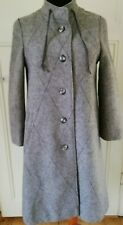 Vintage Wool Coat Jacket UK 10/12 Wool Grey Funnel Neck Buttons 60s 70s Winter