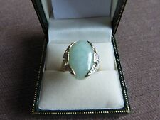 9 Carat Large Green Jade and Diamond Accent Ring Size M