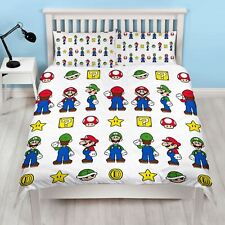 NINTENDO SUPER MARIO STACK DOUBLE DUVET COVER SET REVERSIBLE KIDS