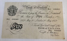 More details for british banknote, five pounds / white fiver. dated 1949. beale. vintage note.