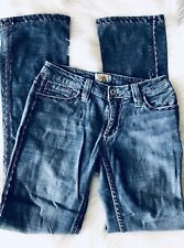 Antik Denim Womens Sz 26 Distressed Jeans Embroidered Pocket Denim Medium Wash