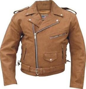 Mens NEW Nubuck Biker Brown Buffalo Leather Motorcycle Jacket Allstate Sizes