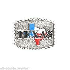 TEXAS ~Silver Western Belt Buckle~ Red, White, Blue FLAG State Square 37924
