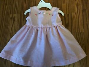 New  Bonnie Baby Pink & White  Checked Baby girls Dress size 3-6 months