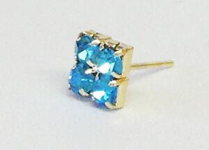Mens gold plated blue topaz single earring 6mm