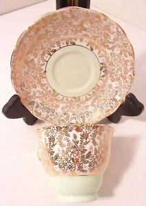 Vintage Colclough Bone China Teacup and Saucer Gold Floral Design