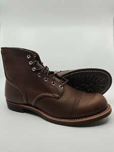 RED WING MENS IRON RANGER 6-INCH BOOT AMBER HARNESS LEATHER SIZE 11.5 FREE SHIP