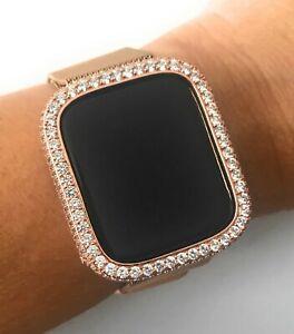 Bling Apple Watch Series 4/5/6/S Bezel Face Case Zirconia Diamond Rose Gold 44mm