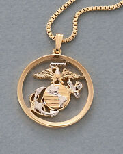 "Marine Challenge Coin Pendant & Necklace. Hand cut - 1"" diameter ( # 792 )"