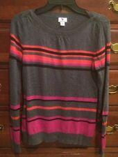 Worthington Grey Striped Boat neck Sweater Small