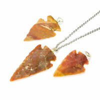 Arrowhead Necklace - Red Jasper Pendant - Carved Natural Stone Jewelry (CC13)