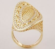 Gold Plated Sterling Silver Cut Stone Signity Ring CZ Accents