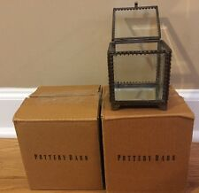 NEW 2PC Pottery Barn Elaine Small Square Glass Display Boxes BRASS