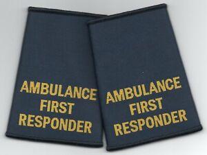 Woven Ambulance First Responder Epaulette Slider Pair Navy Blue Epaulettes