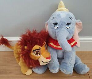 """Disney Posh Paws Lion King Simba Adult 10"""" Tall & Posh Paws Dumbo 15"""" Tall /VGC"""