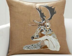 """pottery barn Pillow Collage Embroidered Stag With 24"""" Pillow"""
