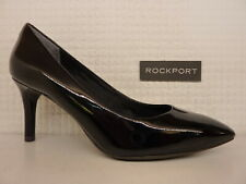Rockport Total Motion 75mm Plain Toe Pump Black Patent Leather Ladies Heel Shoe