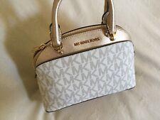 Michael Kors Emmy Dome Shape Satchel Vanilla With Gold Crossbody Shoulder Bag