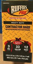 Ruffies Pro Large/Heavy Duty 33 Gallon Black Contractor Clean-Up Bags 12 Count