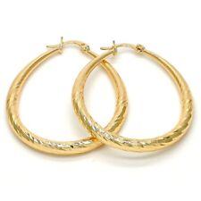 """Women's Medium Real Gold Plated Oval Hoop Earrings Diamond Cut Teardrop 1.5"""" -2"""