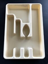 Vintage Rubbermaid Plastic 5 Slot Almond Flatware Tray Utensil Drawer Organizer
