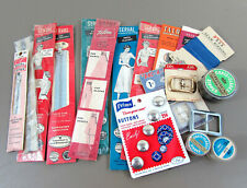 Vintage 1950s-60s metal zipper lot + few other sewing items - New Old Stock
