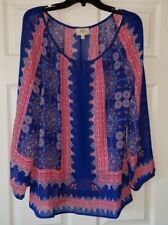 NWT Perch by Blu Pepper Womens Sheer Keyhole Scoop Neck Blouse Plus Size 1XL