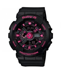 Casio BABY-G BA111-1A Tandem Series Women's Black Neon Pink Analog Digital Watch