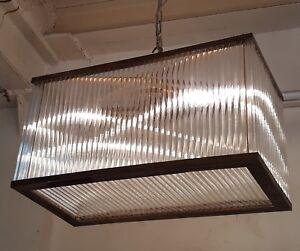 Vintage Art Deco Brass Glass Ship Ceiling Fixture Chandelier Hanging Light Lamp