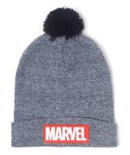 Cap Marvel Classic Logo Beanie Hat Grey With Pom Difuzed