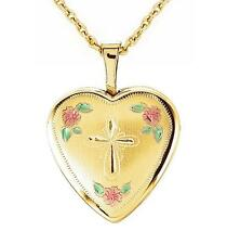 14K Medallón 14K Oro Amarillo Corazón con Cruz & Rosas Religioso Joyería