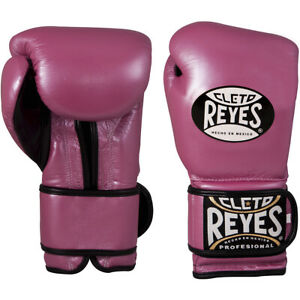 Cleto Reyes Hook and Loop Leather Training Boxing Gloves - 12 oz - Pink Metallic