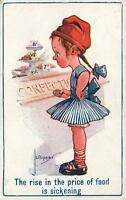 VINTAGE 1918 The RISE in the PRICE of FOOD is SICKENING POSTCARD - JL BIGGAR