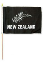 "12x18 12""x18"" New Zealand Silver Fern Stick Flag wood staff"