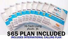 Net10 SIM CARD NANO 3 in 1  w/ $65 UNLIMITED Preloaded funded w/ INTERNATIONAL