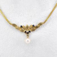wunderschönes Collier Silber vergoldet mit Safir und Perle