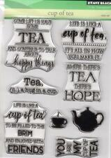 New Penny Black RUBBER STAMP clear CUP OF TEA SAYINGS free USA ship