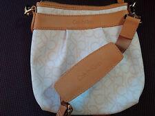Calvin Klein Slingback Crossbody Messenger Bag Purse White / Champagne