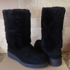 UGG Ariella Luxe Diamond Black Suede Fur Cuff Wedge Short Boots US 11 Womens NIB