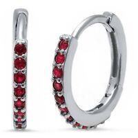 Ruby Huggie Hoop Earrings in Solid Sterling Silver -  JULY BIRTHSTONE
