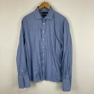 Jaeger Mens Button Up Shirt Size 17.5 XL Blue Striped Long Sleeve Collared 40.02