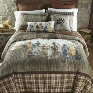 Donna Sharp Bear Mirage Quilt Collection Lodge Rustic Trees Weathered Wood Gray