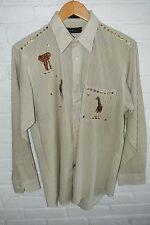 Mens Fancy Shirt Studs 15 1/2 (M) 33-34 Green Striped LS  Animals Marquis