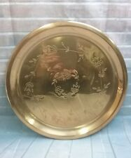 """Vintage 12 1/8"""" round copper serving tray embossed with floral design"""