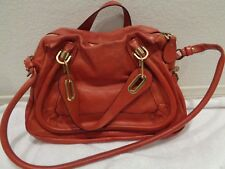 Chloe Paraty Top Handle Bag Leather small/Medium 2 way crossbody Red